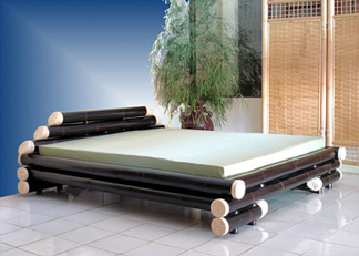 Bamboo Bed Frame Queen Black