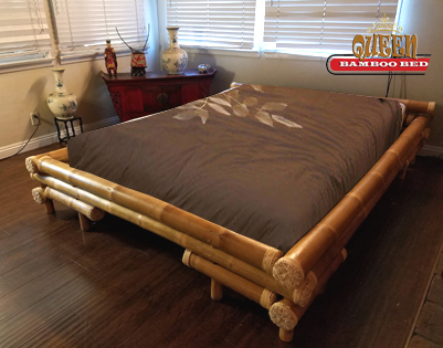 Bamboo Bed Frame Queen Shinto, Bamboo Queen Size Bed