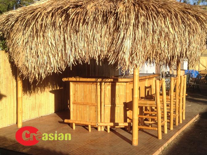 Bamboo Tiki Hut 12 W X L 11 H Asian Thatch Palapa Cover