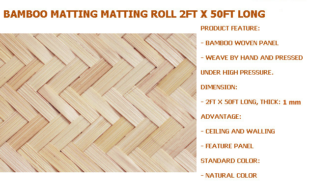 Bamboo Matting Matting Roll Thick: 1 Mm